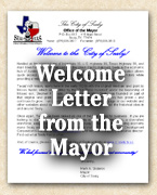 Welcome Letter from Sealy Mayor